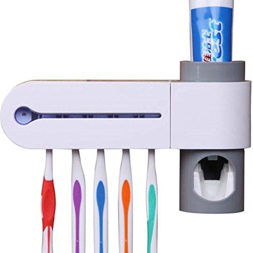 HUHU833 UV Ultraviolett Zahnbürste Sanitizer Automatische Zahnpastaspender An der Wand montiert - 5 Bürstenhalter Toilette/Badezimmer Zubehör (Weiß)