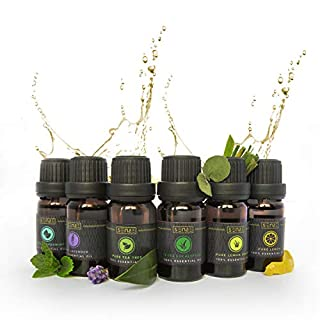 SENSE Aromatherapy Essential Oils Gift Set (6 x 10ml) - Free eBook - 100% Pure Premium Grade Oils - Lavender, Peppermint, Tea Tree, Eucalyptus, Lemon, Lemongrass - for Humidifiers and Diffusers