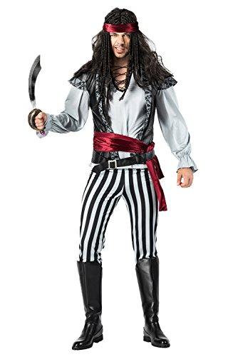 Disfraz de Pirata Capitan para Hombres Set Completo con Cuchillo