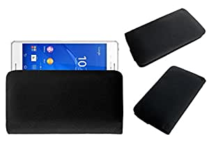 Acm Rich Leather Soft Case For Sony Xperia Z3+ Mobile Handpouch Cover Carry Black