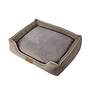 ACMEDE Rectangle Pet Bed Washable Dog or Cat Bed Puppy Cushion Imitation Linen Cloth with Removable Cushion Large 65 * 55 * 8cm