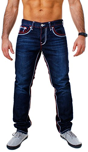 Amica Herren denim Jeans Hose straight leg gerade Passform vintage look mit Kontrastnähte, Grösse:W34;Farbe:Dunkelblau / Rot-Weiß (Hose Kontrast-bund)
