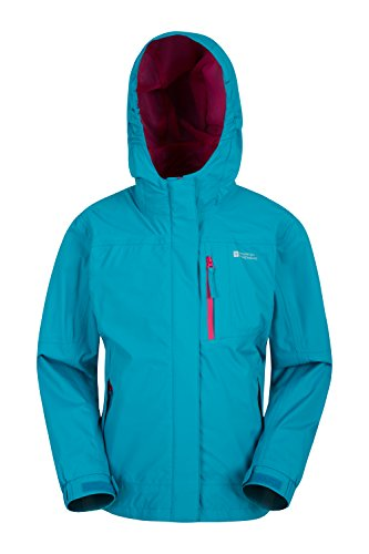 Mountain warehouse luna scherza il rivestimento impermeabile - rivestimento dei bambini leggeri, cappotto registrato della pioggia delle giunture, tasche chiuse verde-blu 140