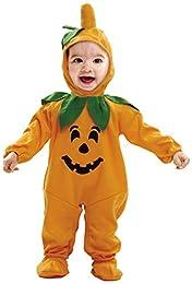 Disfraz de calabaza infantil, válido tanto para niños como para niñas. Compuesto por un mono naranja imitando el cuerpo de una calabaza y un gorrito con rabito verde. Disponible en talla de 7 a 12 meses.