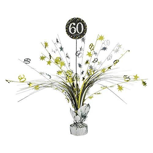 (Amscan 110296, Tischdekoration zum 60.Geburtstag, Fontäne, 33cm, goldfarben)