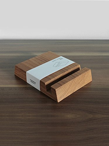 Image of Wooden iPad Stand - Square Holder in Natural Oak Wood