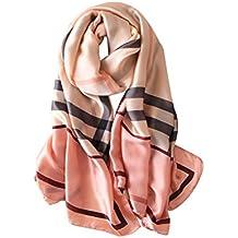 a263d29a727c DAMILY Femmes Classique Géométrique Foulard en Soie-Felling Léger Châle  Wrap Femelle Mode Accessoire