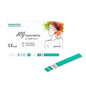 20x original INNOVITA Schwangerschaftstests, hohe Empfindlichkeit 10mlU/ml (3mm), einzeln verschweißt, Frühtest