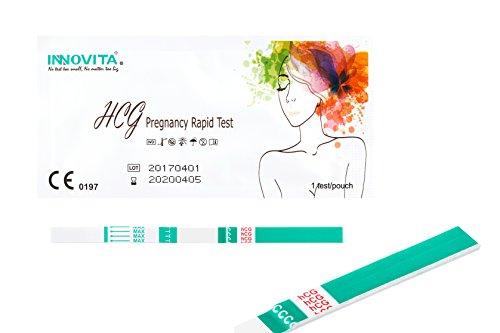 20x original INNOVITA Schwangerschaftstests mit hoher HCG Empfindlichkeit 10mlU/ml in breiter Ausführung (3mm) - jeder Frühtest einzeln verschweißt - neutrale Verpackung