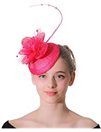Sinamay Fascinator Hat Elegante Fascinators Hat Alice Band Flower Feather  Hairclip Wedding Copricapo per Cocktail Tea 2b1afc5e2cdb