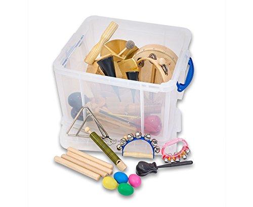 Betzold Musik 84552 - Instrumente-Set, 24 Rhythmik-Instrumente, Schüttel-Eier, Agogo, Claves, Glockenkranz, Trommel, uvm. in praktischer Aufbewahrungsbox - Kinder Musik-Unterricht Schule Rhythmik