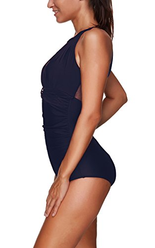 Colfeel Badeanzug Schwimmanzug Damen Einteiler Hoher Hals Rückenfrei Bademode Monokini mit Gaze