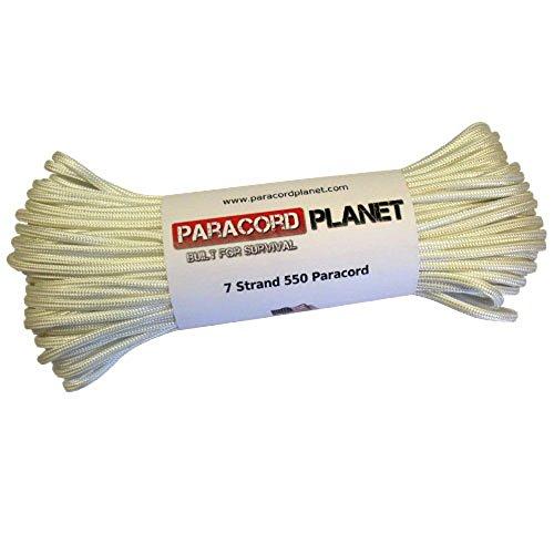 PARACORD PLANET 550LB Getestet Paracord in 25, 50und 100Fuß, Längen der USA Made Seil, Weiß, 50 Feet -