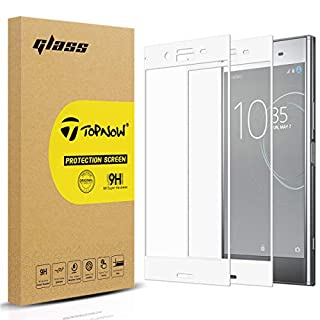Topnow [2 Packs] Sony Xperia XZ Premium Screen Protector, 2.5D Full Coverage 9H Hardness Tempered Glass Screen Protector Film for XZ Premium - Silver