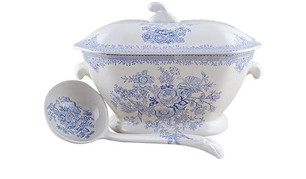 Pottery & China Burleigh Blue Calico Tureen Burleigh/burgess & Leigh