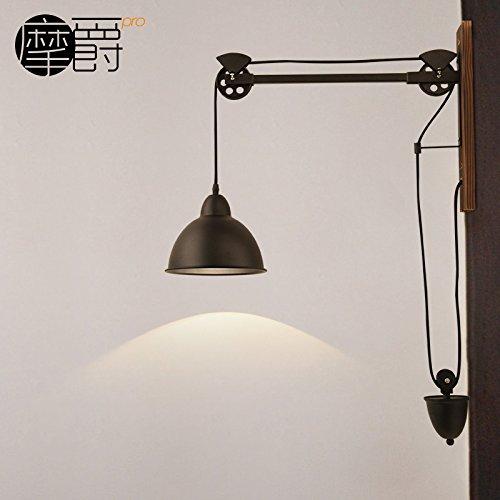 Ufficio GaoHX della Pastorale Vintage vento industriale filo Lampada da parete (con braccio lungo) Parete legno Lampada da parete per illuminazione di lampade Creative