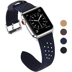 Fullmosa Compatible Bracelet Apple Watch 38mm 40mm(Serie 4) Cuir pour Homme Femme, Breeze pour Bracelet Apple Watch/iWatch 38mm Series 3 2 1 Hermès et Nike+ Edition, Bleu Foncé