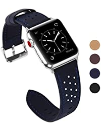 Fullmosa Kompatible Apple Watch Armband 42mm(Series 4 44mm), Breeze Leder Ersatzband für iWatch Armband Serie 4 3 2 1 Hermes und Nike + Edition,42mm(44mm),Dunkelblau