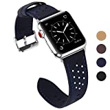 Fullmosa Compatible Bracelet Apple Watch 42mm 44mm(Serie 4) Cuir Homme Femme, Breeze Bracelet Apple Watch/iWatch 42mm Series 3 2 1 Hermès Nike+ Edition, Bleu Foncé