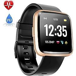 Montre Connectée Cardiofréquencemètre, Hommie Bracelet Connecté Podomètre GPS Fitness Tracker d'Activité Tension Artérielle Oxymètre Smartwatch Sport Femme Homme Étanche IP67 pour Android iOS, Or