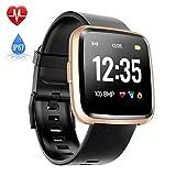 Hommie Touchscreen Smartwatch Wasserdicht IP67 Smart Uhr mit Pulsmesser Fitness Tracker Sport Uhr mit Schrittzähler, Schlaf-Monitor, Call SMS Benachrichtigung Push für Android und...