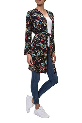 Only Damen Wickeljacke Leichter Mantel Cardigan Kimono Print Night Sky/Flower Boom XL