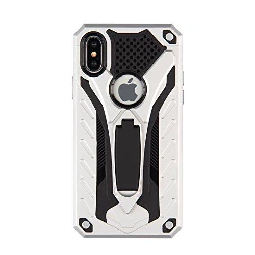 Neue Hybrid-Rüstung schützende rückseitige Abdeckung Shockproof Doppelschicht PC + TPU rückseitige Abdeckung mit Kickstand für iPhone X ( Color : Black ) Silver