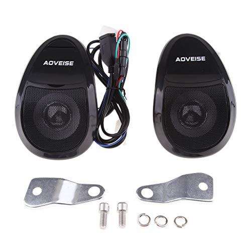 perfeclan 2X Bluetooth Lautsprecher Motorrad Fahrrad MP3-Player Audio Motorrad Roller FM Radio - Schwarz