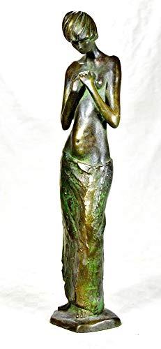 Figur Statuette, junge Frau mit Hände vor der Brust, Kaltguss-Bronze
