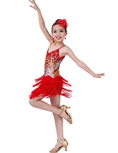 Mode Latin Dance Kostüme Mädchen Latein Kostüm Leistung Kleid Rot
