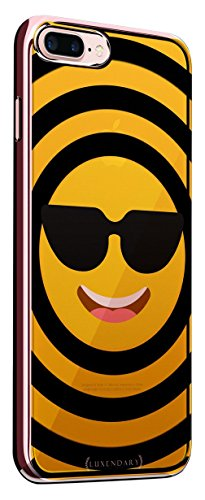 COOL Emoji with Sunglasses | Luxendary Chrome Series Designer case for iPhone 8/7 Plus in Rose Gold Trim