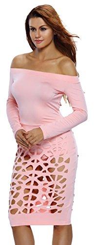 La Vogue Combinaison Salopette Robe Dentelle Manche Longue Épaule Nue Femme Rose