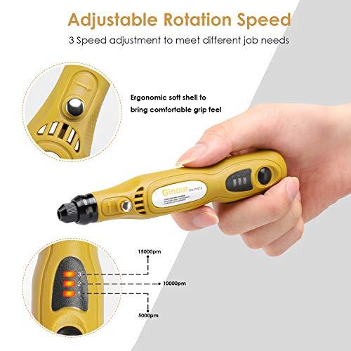 Mini Amoladora,  Ginour 3.7V DC 32 Pcs Accesorios,  USB Recargable 5000- 15000 RPM,  Amoladora Eléctrica,  Herramienta Rotativa,  Multi- Herramienta para Las Muanualidades DIY
