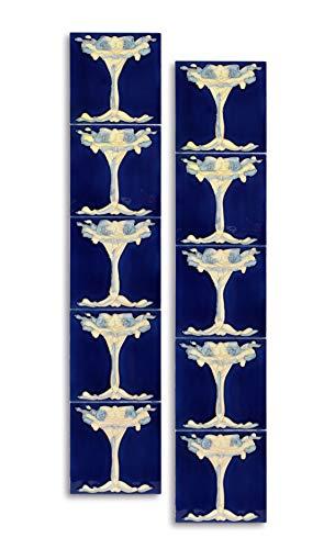 10 Stück Keramik Fliesen Jugendstil 15,2 x 15,2 cm Retro blau