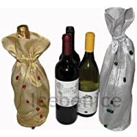 Beaded Organza Bottle Bags - Wine - Spirits - Gift Bags , Lined and Beaded Organza, 2 PACK includes one Gold & one Silver