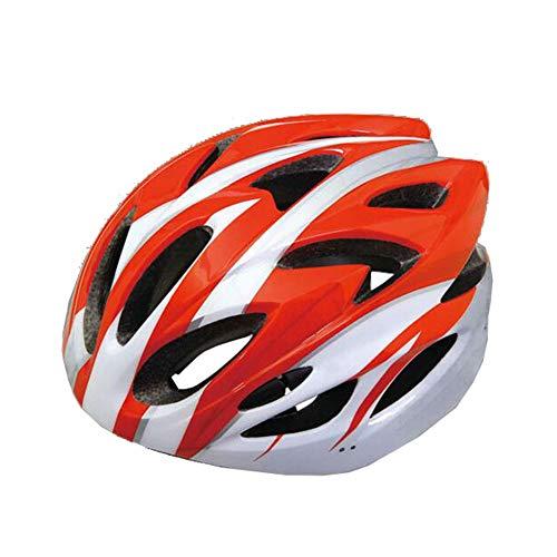 LuuBoes Fahrradhelm, leicht, verstellbar, belüftet, Mountainbike, Rennrad, Kopfschutz für Männer und Frauen, rot/weiß