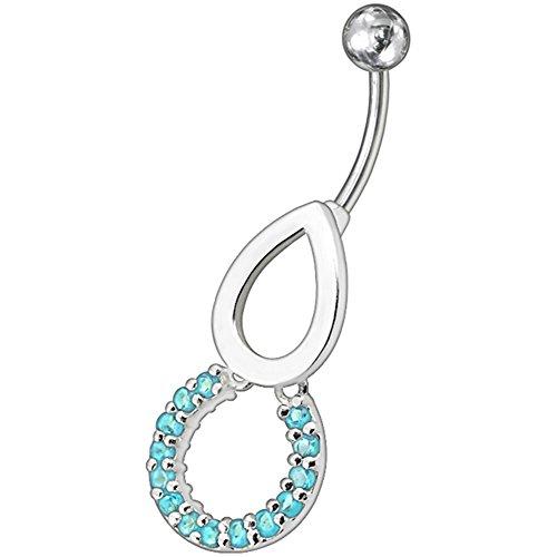 Ronde et Pierre en cristal larme tendance Design en argent 925 avec acier inox Belly Light Blue