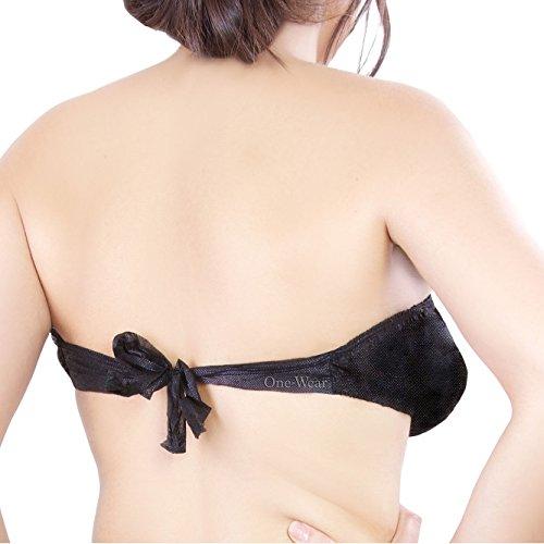 Einweg Baumwolle BH (5-er Pack) EINE GRÖSSE - Soft Premium Qualität für Spa Massage Strand Ferien Mutterschaft Krankenhaus Notfall & Krankenhaustrips Schwarz - PolyPro (1 Paket)
