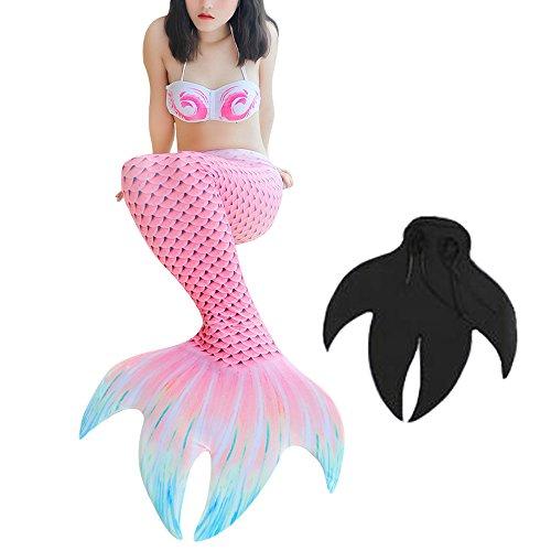 3STEAM Mädchen Meerjungfrauen Bikini Tankini Kostüm Meerjungfrau Schwimmanzug Badeanzüge (4 pcs) Meerjungfrauenschwanz + Schwanzflosse+BH+Unterwäsche (Kleine Meerjungfrau Kostüm Bh)