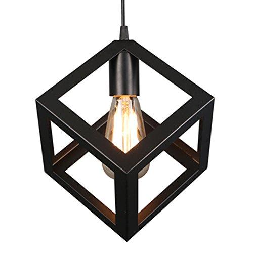 Mmhot-dd Metall-Kronleuchter, schwarz mattierte Deckenleuchte mit einzigartigem geometrischen Design E27 Base 1 Light [Energieklasse A +]