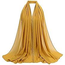 12a5a7adc5ecd Rovinci Mode 1 PC Femmes Dames Malaisie Mousseline de Soie Diamant Musulman  Écharpe Couleur Unie Doux