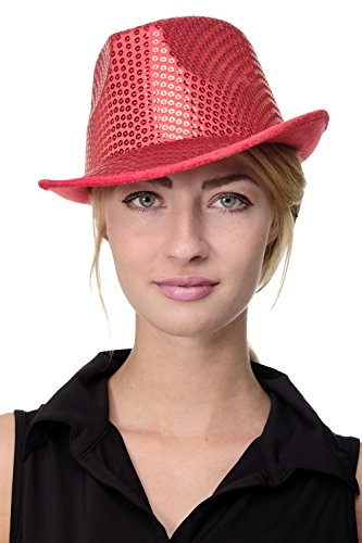 DRESS ME UP - Karneval Fasching Hut Damenhut Herrenhut Fedora rot mit Pailletten Paillettenhut VJ-201-red