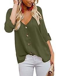 Aranmei Mujeres Camiseta Tirantes Tank Top Verano Casual Sin Mangas botón Strappy Sexy Cami Blusa