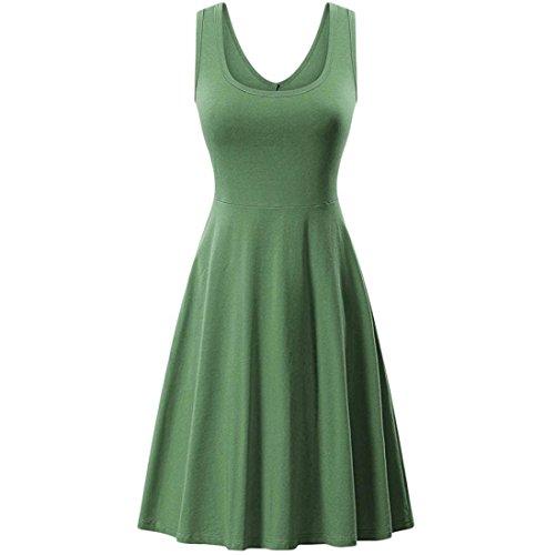 UFACE Ärmelloses Einfarbiges Weste Kleid Frauen Sommer Solid Casual ärmelloses Kleid Outdoor (S, Grün) (Clarks Casual Kleid)