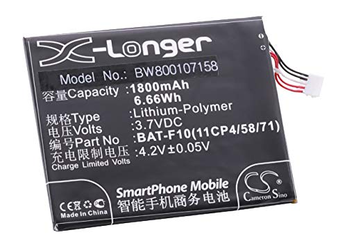 vhbw Li-Polymer Akku 1800mAh (3.7V) für Handy Telefon Smartphone Acer Liquid Z500 wie BAT-F10(11CP4/58/71). 1800 Mah Bat