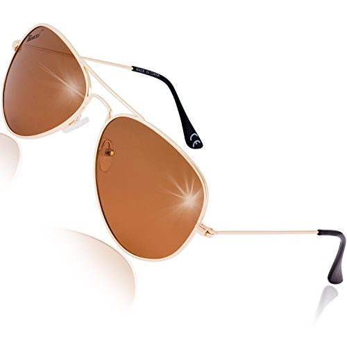 Rivacci Gafas de Sol Aviador Mujer Hombre Polarizadas - Marca Retro/Vintage – Lentes Piloto Deportivas - Dorado/Marrón Polarizado