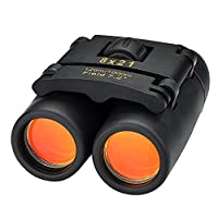 Mini Binoculars, OMorc 8 x 21 Compact Folding Binoculars Telescope with Red Membrane for Longer Distance, Clean Cloth, Carry Case Incluede, Perfect for Golf, Camping, Hiking, Fishing, Birdwatching, Concerts