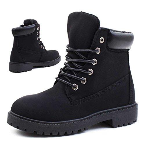 Trendige Unisex Damen Herren Schnür Stiefeletten Stiefel Worker Boots - auch in Übergrößen Schwarz Madrid gefüttert