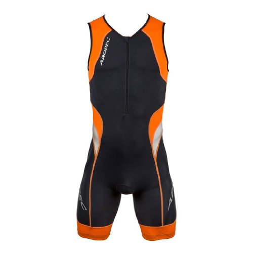 Aropec Lime - Men's Sports Suit - Lion Lycra Triathlon Suit, Suit, Man, Color Black / Orange, Size Small