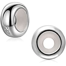 2PCS stopper charm in argento Sterling 925con anello in gomma rondelle perlina distanziale per 3mm braccialetto collana